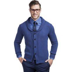 Sweter ORAZIO 13-100CS. Niebieskie swetry rozpinane męskie Giacomo Conti, m, z materiału, klasyczne, z klasycznym kołnierzykiem. Za 259,00 zł.