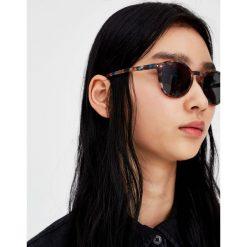 Okrągłe rogowe okulary przeciwsłoneczne. Szare okulary przeciwsłoneczne damskie lenonki marki Pull & Bear, okrągłe. Za 49,90 zł.