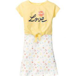 Sukienki dziewczęce z falbanami: Sukienka + wiązany shirt (2 części) bonprix biel wełny z nadrukiem