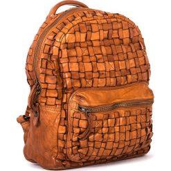 Plecaki damskie: Skórzany plecak w kolorze jasnobrązowym – 26 x 33 x 13 cm