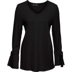 Swetry klasyczne damskie: Sweter dzianinowy z rozkloszowanymi rękawami bonprix czarny