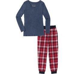 Piżamy damskie: Piżama flanelowa bonprix ciemnoniebieski melanż z nadrukiem