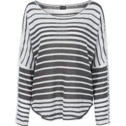 Sweter bonprix brunatno-biały w paski. Brązowe swetry klasyczne damskie marki bonprix, na lato, z koronki. Za 109,99 zł.