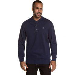 T-shirt gładki z dekoltem z rozcięciem z długim rękawem. Niebieskie kardigany męskie JP1880, m, z bawełny. Za 236,21 zł.