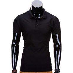 KOSZULKA MĘSKA POLO BEZ NADRUKU S715 - CZARNA. Czarne koszulki polo Ombre Clothing, m, z nadrukiem, z materiału. Za 39,00 zł.
