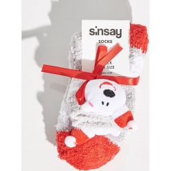 Skarpetki świąteczne - Wielobarwn. Szare skarpetki damskie marki Sinsay. Za 14,99 zł.