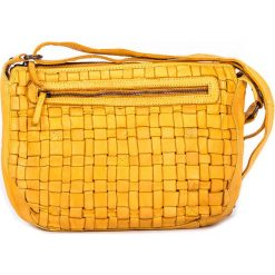 Torebki klasyczne damskie: Skórzana torebka w kolorze żółtym – 27 x 21 x 8 cm