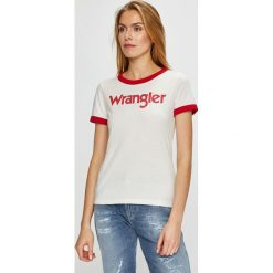 Wrangler - Top. Szare topy damskie Wrangler, l, z nadrukiem, z bawełny, z okrągłym kołnierzem. Za 99,90 zł.