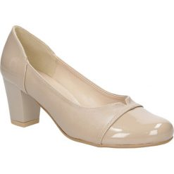 Czółenka na słupku Casu 1757. Brązowe buty ślubne damskie marki bonprix, na obcasie. Za 89,99 zł.