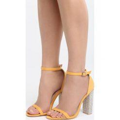 Żółte Sandały Great Fall. Żółte sandały damskie na słupku Born2be, z materiału, na wysokim obcasie. Za 89,99 zł.