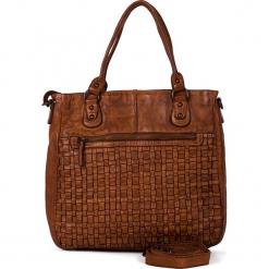 Skórzana torebka w kolorze jasnobrązowym - 31 x 33 x 10 cm. Brązowe torebki klasyczne damskie neropantera, w paski, z materiału. W wyprzedaży za 454,95 zł.