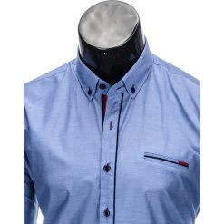 KOSZULA MĘSKA Z DŁUGIM RĘKAWEM K322 - NIEBIESKA. Brązowe koszule męskie na spinki marki Ombre Clothing, m, z aplikacjami, z kontrastowym kołnierzykiem, z długim rękawem. Za 59,00 zł.