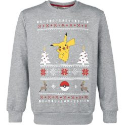 Swetry klasyczne męskie: Pokemon Pikachu Christmas Sweater Sweter odcienie szarego