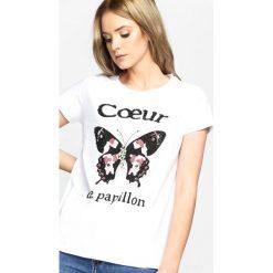 T-shirty damskie: Biały T-shirt Papillon