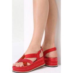 Czerwone Sandały Periwinkle. Brązowe sandały damskie marki vices, z materiału, ze szpiczastym noskiem, na wysokim obcasie, na obcasie. Za 69,99 zł.