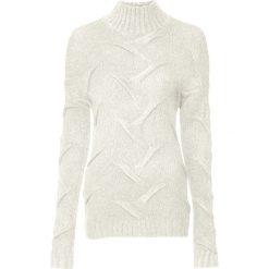Sweter  w warkocze bonprix biel wełny. Białe swetry klasyczne damskie bonprix, z dzianiny. Za 99,99 zł.