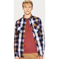 Koszula w kratę - Brązowy. Szare koszule męskie marki House, l, z bawełny. Za 79,99 zł.