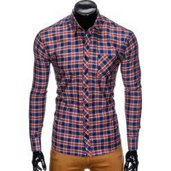 KOSZULA MĘSKA W KRATĘ Z DŁUGIM RĘKAWEM K418 - GRANATOWA/CZERWONA. Czerwone koszule męskie na spinki Ombre Clothing, m, z długim rękawem. Za 59,00 zł.