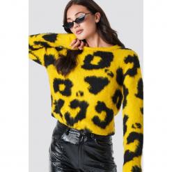 Rut&Circle Sweter Leopard - Yellow. Zielone swetry klasyczne damskie marki Rut&Circle, z dzianiny, z okrągłym kołnierzem. Za 202,95 zł.