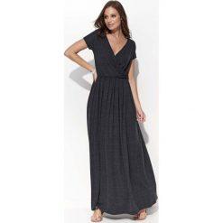 Sukienki: Grafitowa Casualowa Maxi Sukienka Kopertowa z Krótkim Rękawem