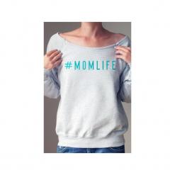 Momlife bluza dla karmiących matek. Czarne bluzy z nadrukiem damskie One mug a day, s, z bawełny. Za 159,00 zł.