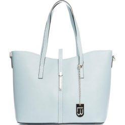 Shopper bag damskie: Skórzany shopper bag w kolorze błękitnym – 40 x 27 x 14 cm