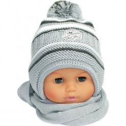 Czapka niemowlęca z szalikiem CZ+S 154G. Szare czapeczki niemowlęce Proman. Za 38,76 zł.