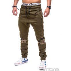 Spodnie męskie: SPODNIE MĘSKIE JOGGERY P387 – ZIELONE