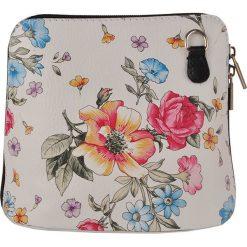 Torebki klasyczne damskie: Skórzana torebka w kolorze białym ze wzorem – 16 x 16 x 8 cm