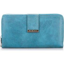 Niebieski damski portfel do ręki Złoty. Niebieskie portfele damskie Jennifer Jones. Za 54,90 zł.