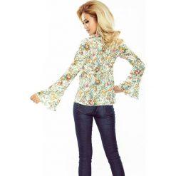 Bluzki asymetryczne: Bluzka z rozkloszowanymi rękawkami - kwiaty ECRU