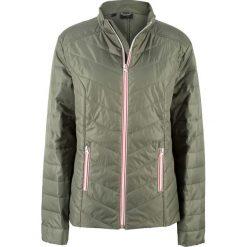 Kurtka pikowana z kolorowym zamkiem bonprix oliwkowy. Zielone kurtki damskie pikowane marki bonprix, w kolorowe wzory. Za 69,99 zł.