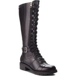 Kozaki NERO GIARDINI - A807093D  Nero 100. Czarne buty zimowe damskie Nero Giardini, z materiału, przed kolano, na wysokim obcasie. Za 869,00 zł.
