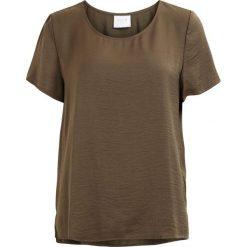 Bluzki damskie: Gładka bluzka, okrągły dekolt, krótki rękaw
