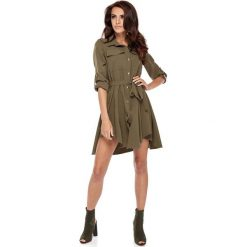 Sukienki: Khaki Koszulowa Sukienka w Militarnym Stylu