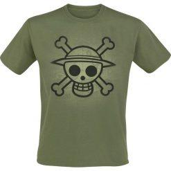 T-shirty męskie: One Piece Skull With Map Used T-Shirt oliwkowy