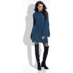 Granatowa Sukienka Swetrowa z Szerokimi Rękawami. Niebieskie sukienki balowe marki Molly.pl, l, z dzianiny, dopasowane. Za 149,90 zł.