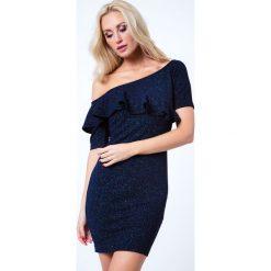 Sukienki: Sukienka z falbana na jedno ramię granatowa 6651