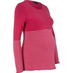 Sweter ciążowy bonprix czerwień granatu w paski. Czerwone swetry klasyczne damskie bonprix, moda ciążowa. Za 89,99 zł.