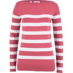 Sweter z dekoltem w łódkę, długi rękaw bonprix dymny malinowy - biały w paski. Czerwone swetry klasyczne damskie bonprix, z dzianiny, z dekoltem w łódkę. Za 49,99 zł.