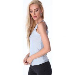 Bluzka na ramiączka metalizowana jasnoniebieska 3700. Czarne bluzki damskie marki Fasardi, m, z dresówki. Za 31,20 zł.