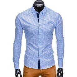KOSZULA MĘSKA Z DŁUGIM RĘKAWEM K412 - BŁĘKITNA. Niebieskie koszule męskie na spinki Ombre Clothing, m, z dzianiny, z kontrastowym kołnierzykiem, z długim rękawem. Za 69,00 zł.