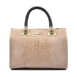 Torebki klasyczne damskie: Skórzana torebka w kolorze ciemnobeżowym – (S)32 x (W)24 x (G)17 cm