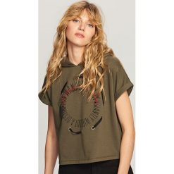 Bluzy damskie: Bluza z krótkimi rękawami - Khaki