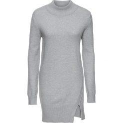 Długi sweter z rozcięciami bonprix jasnoszary melanż. Szare swetry klasyczne damskie bonprix. Za 79,99 zł.