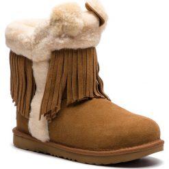 Buty UGG - K Darlala Classic II  1095672K  K/Che. Szare buty zimowe damskie marki Ugg, z materiału, z okrągłym noskiem. Za 839,00 zł.