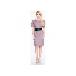 Luźna sukienka ze skórzanym paskiem SL2168BELT. Czarne sukienki mini marki Soleil, na imprezę, s, w kolorowe wzory, z bawełny, z długim rękawem, dopasowane. Za 139,00 zł.