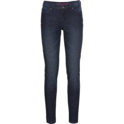 Dżinsy Super SKINNY, krótsze nogawki bonprix ciemny denim. Niebieskie jeansy damskie marki bonprix, z denimu. Za 59,99 zł.