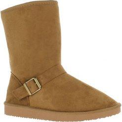 Buty zimowe damskie: Kozaki w kolorze jasnobrązowym