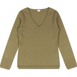 Sweter kaszmirowy w kolorze oliwkowym. Brązowe swetry klasyczne damskie marki Ateliers de la Maille, z kaszmiru. W wyprzedaży za 363,95 zł.
